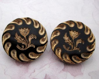 2 pcs. vintage glass gold plated intaglio flower shank buttons 23mm - b164