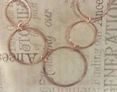 Copper Necklace Five (5) Large Circles from Reclaimed Metal, Handmade in the USA, EcoFriendly Jewelry