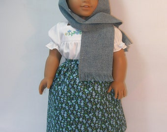 18 Inch Doll Clothes Embroidered Camisa, Rebozo and Skirt for Josefina  1824-1113