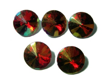 16mm Acrylic Rivoli faceted stones Red AB 5pcs