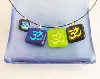 Teal or Gold OM or AUM pendant - dichoic pendant - dichroic glass jewelry (2812, 2818, 3550, 4486)