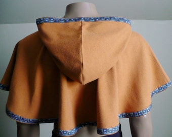 Hooded Cowl Caramel Gold Unlined Raw Silk Noil Elven Medieval Woodland
