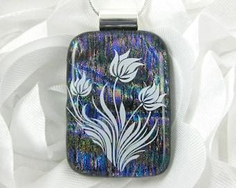 Purple Dichroic Glass Flower Pendant - Fused Glass Jewelry