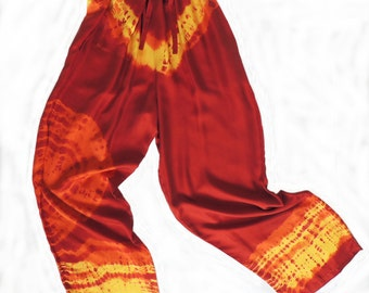 Silk Twill Shibori Comfy Pants, Hand Made, Bound and Dyed