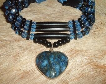 Lapis Lazuli Heart Native Choker, Blue Crystal, Black Leather, Bone, Water Buffalo Horn