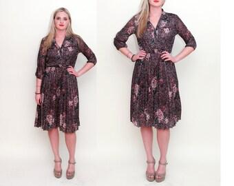 Vintage 70s Neutral Floral Print BOHEMIAN Pleated Midi Dress - Size S M L