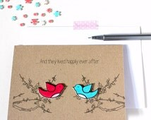 Handmade Engagement Card. Wedding Card. Anniversary Card. Love Card. Happily Ever After. Love Birds. Wedding congratulations cards.