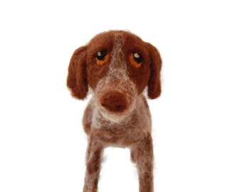 Custom needle felted red and white German Shorthaired Pointer, Crossbrees or any animal soft dog plushie sculpture
