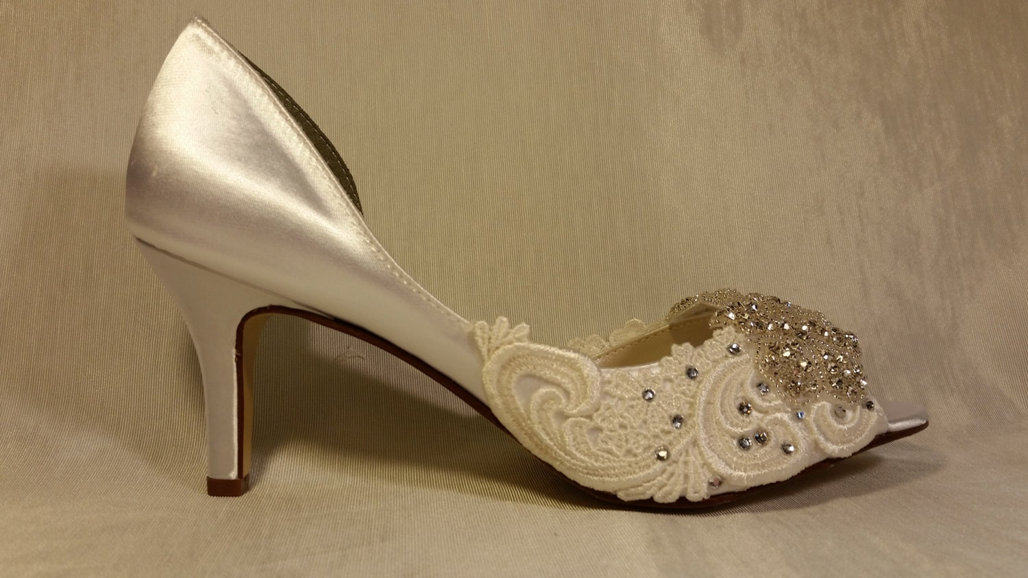 Low Heel Wedding Shoes .. Embroidered Lace Bridal Shoes
