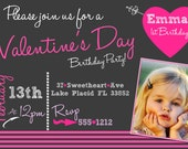 VALENTINE BIRTHDAY INVITATION Sweetheart Chalkboard Invitation Heart Birthday Party First Birthday, With Cupcake Topper