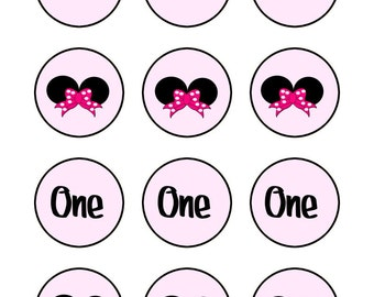 Minnie Mouse Cupcake Topper, Minnie Mouse 1st Birthday,  Tag, Sticker 2 inch round INSTANT DOWNLOAD