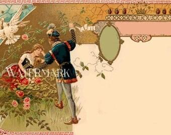 Romantic Sleeping Beauty Victorian Post Card Ephemera Romantic Post card Vintage Scrapbooking Instant Digital Download