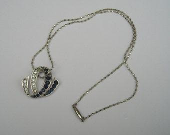 Pretty Gallery Originals White & Sapphire Blue Rhinestone Pendant Necklace