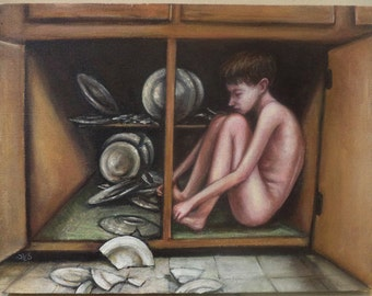 Figure Study with Broken Dishes, Human Figure, Child in a Cupboard, Everything Right is Wrong Again, Kitchen Cupboard, Boy, Nude Figure