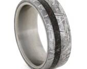 Meteorite Wedding Band for Him or Her w Dinosaur Bone, Titanium Ring, Men's Wedding Band, Custom, Personalized, Handmade Ring