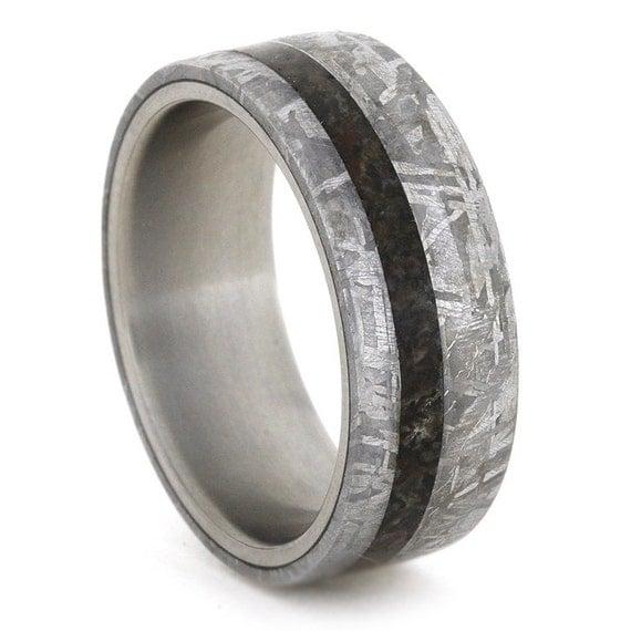 meteorite wedding band ring dinosaur bone by jewelrybyjohan