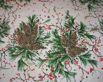Vintage Christmas Pine Cone Berry Greenery Oblong Cloth Fabric Table Cloth