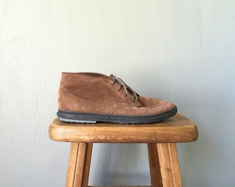 Vintage KEDS Boots • 1990s Shoes • Casual Brown Suede Leather Lace Up Oxford Booties 90s Grunge Tennis Shoes Sneakers •Size 6.5 Women