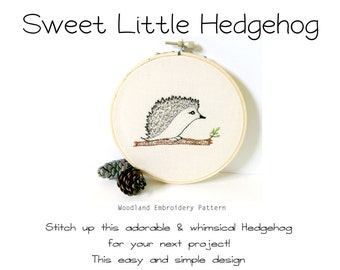 Woodland Baby Nursery Embroidery Pattern - Hedgehog - PDF Pattern - Instant Digital Download