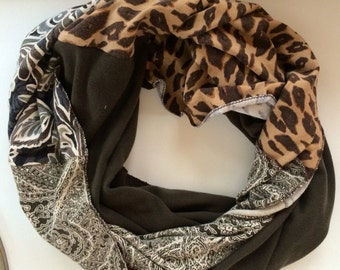 Infinity Scarf from comfy recycled t -shirts in neutrals-Brown, Tan, Gray, animal (leopard) print