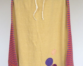Colorful T-shirt Skirt Size L made from Recycled Clothing with Drawstring Yellow Orange Purple