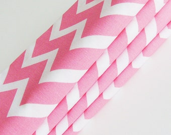 Melon Chevron Cotton Napkins / Set of 4 / Pink Melon & White Modern On-Trend Zig-Zags Table Decor / Unique Eco-Friendly Gift Under 50