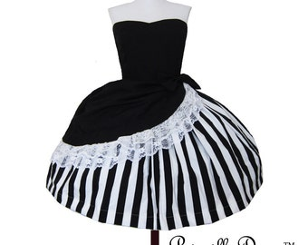 Stripe Layered Gothic Tim Burton Inspired Dress Custom in your size