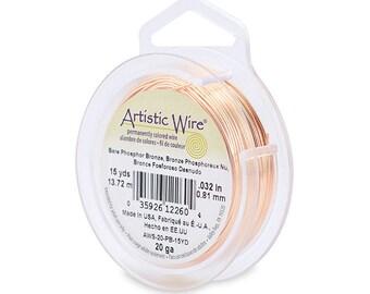 Artistic Wire 20 Gauge Bare Phosphor Bronze 43210 15 Yards  Round Wire, Jewelry Wire, Craft Wire, Wire Wrapping, 20ga Soft Temper Wire