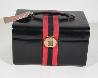 VINTAGE Black Leather Like TRAIN CASE Handbag beauty Handbag w/ stripes pb