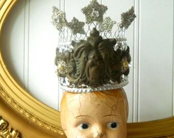 Santos crown upcycled decor crown rhinestones glass glitter stars vintage elements  Shabby romantic cottage
