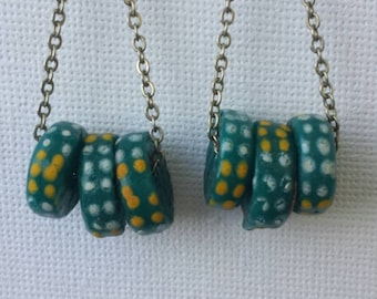 African glass bead earrings