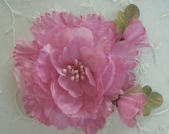 PINK Organza Peony Rose Flower w Rose Bud Bridal Hair Accessory Pin
