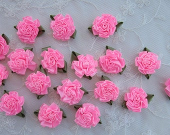 18pc PINK Satin Ribbon Fabric Flower Applique Shabby Chic Baby Doll Carnation Cabbage Rose Bow #1