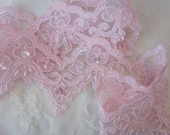 1 Yard 24 Inches Lt Pink Sequin Pearl Beaded Lace Trim Embellished Embroidered Organza Doll Bridal