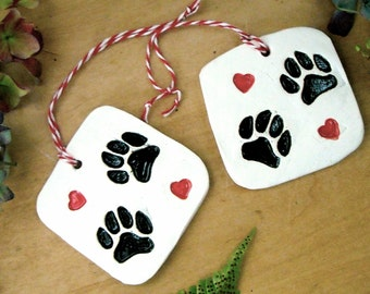 2 Dog Paw & Hearts Gift Tags, Tree Ornaments - Rustic HandMade Whimsical Black White Red I Love Dogs, Family Pet Lovers Holiday Wall Hanging