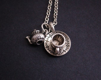 silver tone time for tea necklace