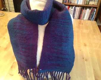 Handwoven clasp weft purple teal scarf
