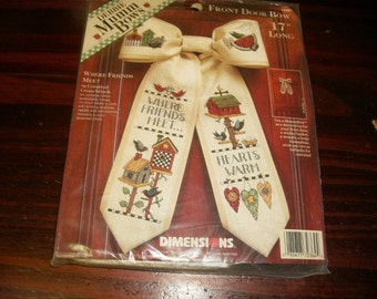 Counted Cross Stitch Kit Where Friends Meet Dimensions 72364 Debbie Mumm Bows Front Door Bow