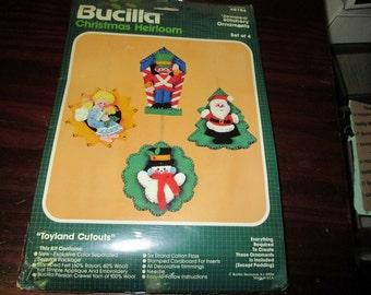 Felt Kit Bucilla Felt Kit Toys Ornaments Toyland Cutouts 48784 Complete and Ready to Make set of 4