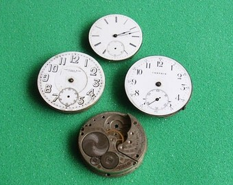 Antique Vintage Pocket Watch Parts Movements Porcelain Faces Steampunk DIY Jewelry Industrial Art Elgin Centaur Russell and Sons