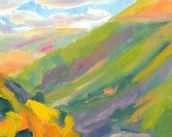 plein air oil painting landscape small colourful colorful 6x8 Evening Sun in the Valley