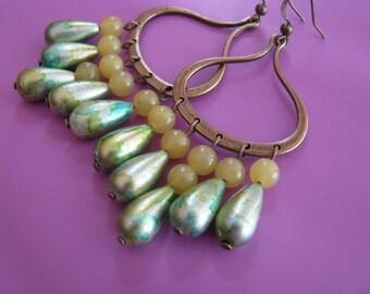 Chandelier Earrings, Green Chandelier Earrings, Mottled Green and Antique Bronze Earrings, Jade Spring Green Earrings