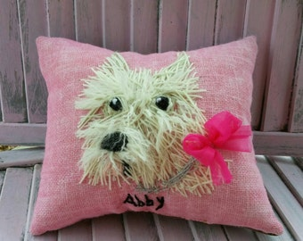 Your Dog Free hand Embroidered on Pillow in Wool Yarn