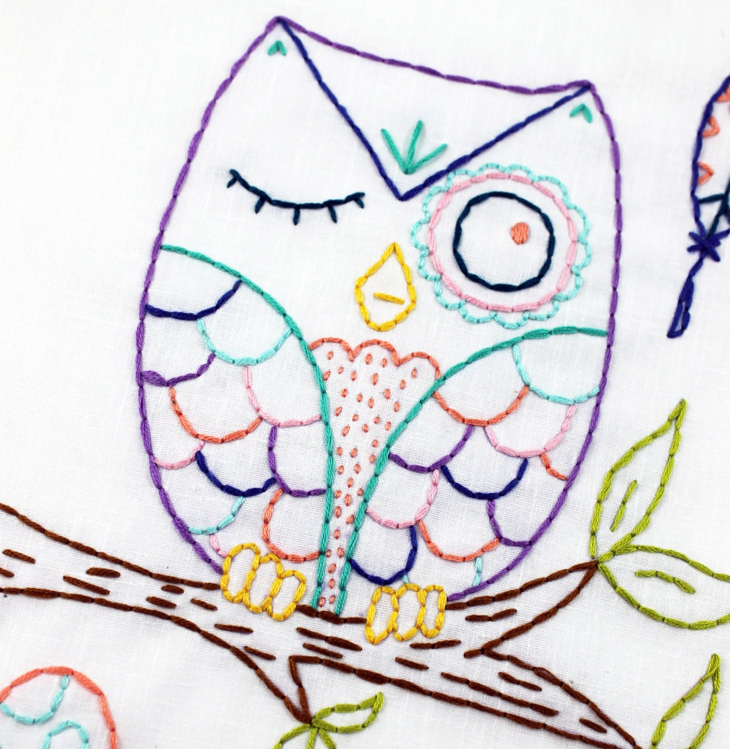 woodland owl hand embroidery pdf pattern from lovahandmade