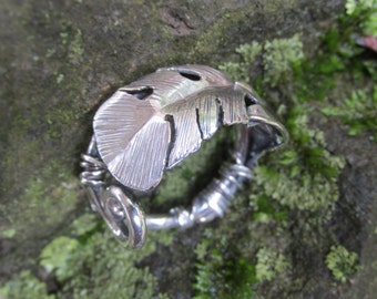 Sterling Silver Brutalist Feather Adjustable Ring