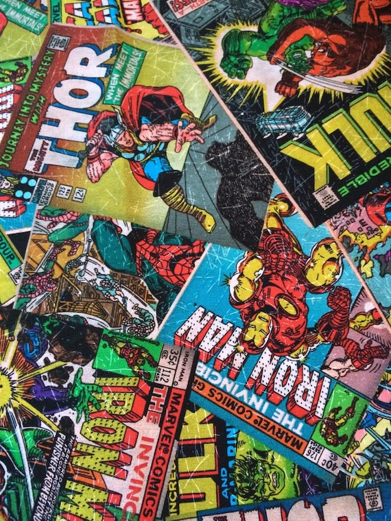 Comic Book Cover Fabric : Marvel comic book covers take fabric yard