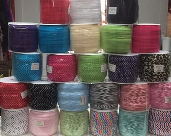 "OVERSTOCK *Sale*- 5/8"" Fold Over Elastic 10 yard piece. choose your color"