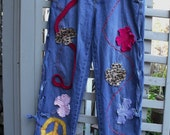Womens Decorated Jeans/Art Deco Jeans/Funky Flowers/Boho/Laced Sides/Washed/Faded Denim