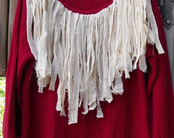 Holiday Glamour/ Red Upcycled Sweater with Funky Fringe/Fancy, Frilly Christmas Sweater/ Sheerfab Holiday