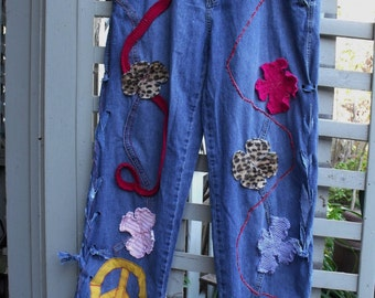 Junked Up Jeans/ Funky Embellished Jeans/ Upcycled Decorated Jeans/ Size Medium High Waist Jeans/ Sheerfab Funwear